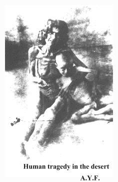 donna-bimbo nel deserto di Der-el-Zor